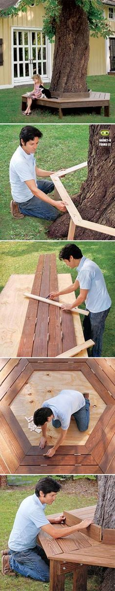 to Build a Tree Bench How to build a tree bench tutorial, looks cool and makes for a nice place to sit on sunny days.How to build a tree bench tutorial, looks cool and makes for a nice place to sit on sunny days. Backyard Projects, Outdoor Projects, Backyard Ideas For Kids, Patio Ideas, Diy Projects, Banco Exterior, Tree Bench, Tree Seat, Outdoor Fun
