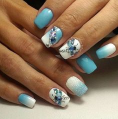 The Ombre Colored Summer Holiday Nail Art Idea. Studded insect with ombre shaded nails are so giving the summer feel.