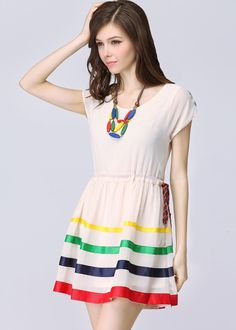 Apricot Short Sleeve Drawstring Waist Striped Dress