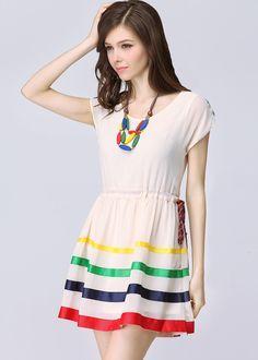 Apricot Short Sleeve Drawstring Waist Striped Dress