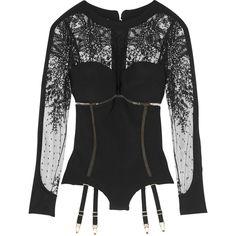 La Perla Embroidered Tulle and Neoprene Bodysuit as seen on Hayden Panettiere