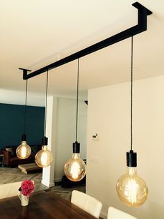Hanging lamp dining table on steel- Hängelampe Esstisch auf Stahl Hanging lamp dining table on steel # Hanging lamp - String Lights Outdoor, Hanging Lights, Hanging Lamps, Ceiling Light Design, Ceiling Lights, Farmhouse Lamps, Cool Lamps, Home Lighting