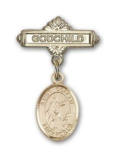 ReligiousObsession's 14K Gold Baby Badge with St. Colette Charm and Godchild Badge Pin *** Check this awesome product by going to the link at the image.