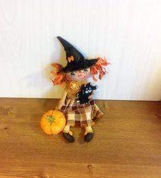Halloween witch doll  broom fantasy doll housewarming stuff doll fabric soft…