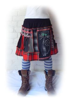 Punk Quirky Recycled Cat Tartan Skirt Stretch Flared Black Red Witch Scottish…