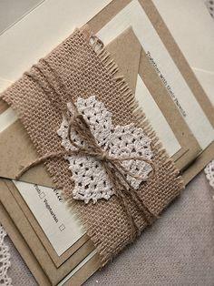 Custom listing 100 Rustic Wedding Invitation por forlovepolkadots