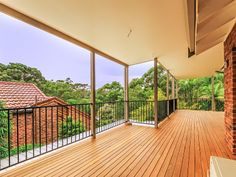 Large covered timber deck verandah perfect for entertaining. #deck #verandah #dural #sydney Pool Rails, Outdoor Stuff, Outdoor Decor, Iron Railings, Timber Deck, Balconies, Porches, Coastal, Real Estate