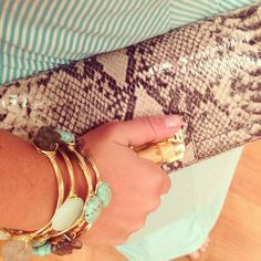 Snakeskin accents and turquoise Reece & Blaire Stacks! Email reeceblaire@gmail.com to order or Instagram @Reece & Blaire