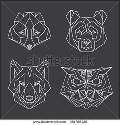 Set of four vector animal heads drawn in line or triangle style, suitable for modern tattoo templates, icons or logo elements