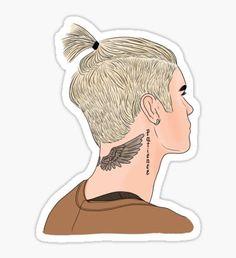 Justin Bieber Ponytail Drawing Pegatina