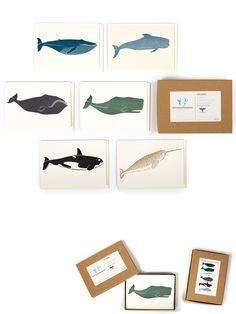 Whale notecards. Letterpress. FSC certified cardstock.