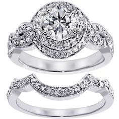 14k White Gold 2ct TDW Clarity Enhanced Diamond Halo Bridal Ring Set... ($4,808) ❤ liked on Polyvore featuring jewelry, rings, silver, wide band rings, 14k white gold ring, bridal set rings, round wedding rings and white gold engagement rings