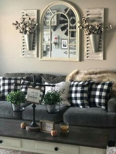 30 Rustic Farmhouse Living Room Design and Decor Ideas for Your Home. 30 Rustic Farmhouse Living Room Design and Decor Ideas for Your Home. Home Decor Ideas Living Room Check this useful article by going to the link at the image. Home Living Room, Living Room Designs, Rustic Living Room Decor, Plaid Living Room, Living Room Wall Ideas, Country Living Room Rustic, Rustic Wall Decor, Mirror Decor Living Room, Small Wall Decor