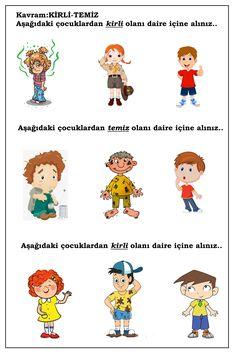 OKUL ÖNCESİ KIRLİ TEMİZ KAVRAMI ÇALIŞMA SAYFASI Turkish Language, Olay, Pre School, Special Education, Montessori, Worksheets, Free Printables, Student, Fun Math Activities