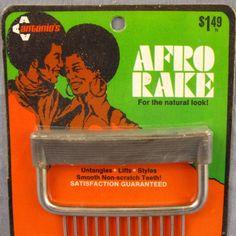 Antonio's Afro Rake NEW Old Stock MOC Vintage 1970's Chrome Spring Tines Sealed