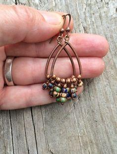 Copper Hoop Bohemian Earrings with Czech Glass Dangles – Rustica Jewelry