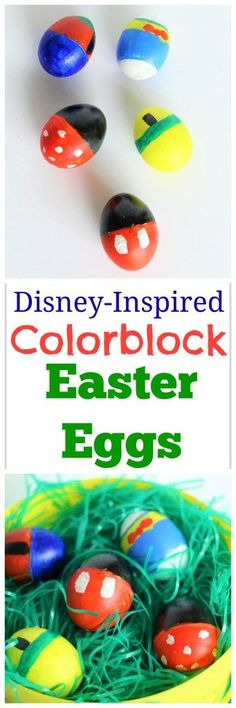 Disney-Inspired Colorblock Easter Eggs - Minnie, Mickey, Goofy, Donald, and Pluto painted Easter Eggs