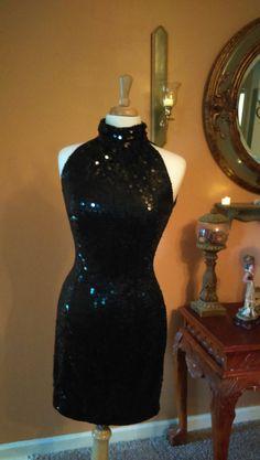 "Vintage Black Halter Sequined Dress ""Nite Line"" Size 10 by GenesisVintageShop on Etsy"