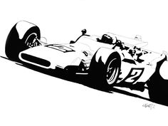 """36""""x48"""" Monotone, Acrylic on Canvas, Son of Indy original, inspired by the Indianapolis Motor Speedway's 50th anniversary celebration of Mario Andretti's 1969 Indy 500 win in the #2 Granatelli turbocharged Ford-powered Brawner Hawk III, a backup car."""