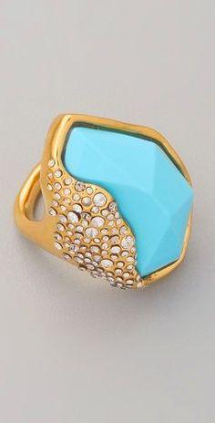 Alexis Bittar Gold and Turquoise Ring #splendidsummer