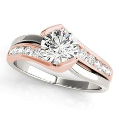 14k WHITE & ROSE GOLD DIAMOND SEMI-MOUNT ROUND SWIRL MODERN ENGAGEMENT RING #SolitairewithAccents