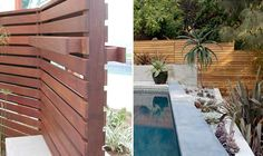 Wood trellace/dividing wall  (note: built-in hanging planter box)