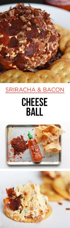 How To Make An Epic Sriracha And Bacon-Coated Cheese Ball _ To be clear, this is a ball of cheese rolled in crispy Sriracha and bacon! Finger Food Appetizers, Yummy Appetizers, Appetizers For Party, Appetizer Recipes, Snack Recipes, Cooking Recipes, Sriracha Recipes, Bacon Recipes, Cheese Snacks