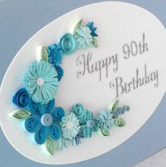 90th birthday card paper quilling any age by PaperDaisyCardDesign, £5.00