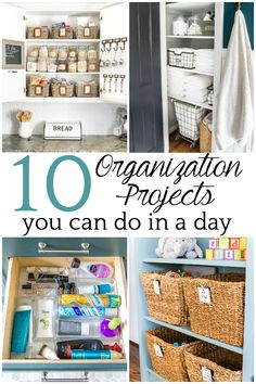 10 Organization Projects You Can Do in a Day | Home organization ideas that can be accomplished in a day or less to declutter, organize, and clean your home for maximum function in less time.  #organization