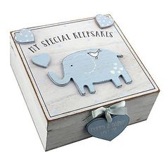 My Special Keepsakes Baby Boy Blue Wooden Memories Box Christening New Baby Gift