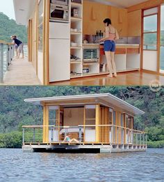 Here's an architect who said 'Somebody should design a better houseboat' and then realised that he's a 'somebody'. Have you ever considered being a 'live-aboard'? It's a great lifestyle but you decide after viewing the full album of 21 photos and plans Houseboat Living, Pontoon Houseboat, Houseboat Ideas, Pontoon Boats, Floating House, Tiny Spaces, Little Houses, Future House, Architecture Design