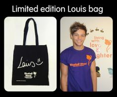 """Louis Tomlinson creates Limited Edition """"Louis"""" bag for Bluebell Wood charity. One Direction Updates, One Direction Louis Tomlinson, Louis Bag, Signature, Charity, Reusable Tote Bags, Wood, Totes, Enabling"""