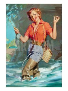Pin-Up Fly Fishing Art Print by William Medcalf at Art.com