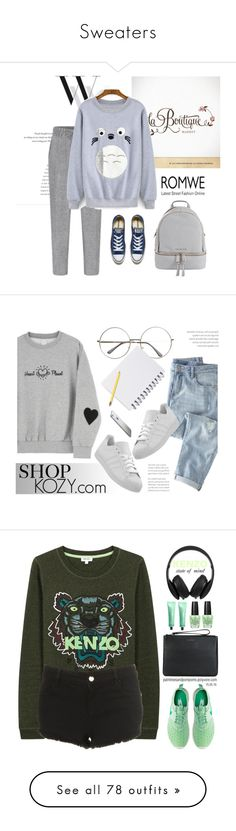 """""""Sweaters"""" by natalialovesnutella12 ❤ liked on Polyvore featuring Balenciaga, Converse, MICHAEL Michael Kors, Wrap, shopkozy, Kenzo, Topshop, Coccinelle, OPI and Monster"""