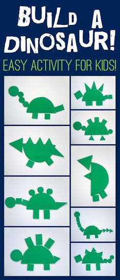 "Dinosaur activities: Fun & Simple ""build a shapely"" dinosaur activity for kids."