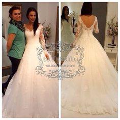 Item Type: Wedding Dresses Waistline: Natural is_customized: Yes Brand Name: Dressy New Star Dresses Length: Floor-Length Neckline: V-neck Silhouette: A-Line Sleeve Length: Full Wedding Dress Fabric: