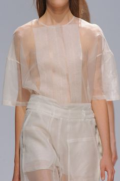 Transparency - sheer panelled top & trousers in a relaxed fit; fashion details // Christian Wijnants