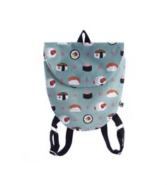 Sushi backpack one of a kind backpack Kids backpack Printed