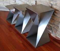 metal furniture Twist Table Bases Custom Metal Home Steel Furniture, Unique Furniture, Industrial Furniture, Furniture Design, Furniture Ideas, Contemporary Furniture, Modern Contemporary, Mesa Metal, Wood And Metal
