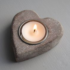 Wood heart shaped candle holder