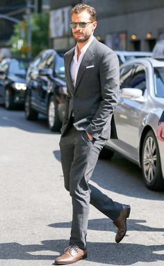 Jamie Dornan from The Big Picture: Today's Hot Pics  The Fifty Shades of Grey star wears a very appropriate grey suit as…