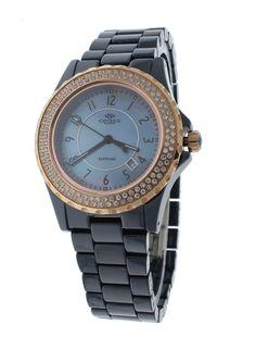 Oniss ON6200-LRGBU Dark Blue Ceramic Case Women's Watch With 116 Rose-Tone Crystals on Bezel