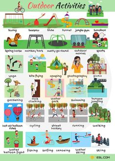 Outdoor games and activities may refer to a team sport game or practice held in an outdoor setting. When … English Study, English Words, Learn English, Teach English To Kids, Sport English, English Class, Expressions Anglaises, English Resources, English Activities