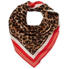 Vince Camuto Poppy Leopard Silk Scarf ($30) ❤ liked on Polyvore featuring accessories, scarves, red, leopard scarves, red scarves, pure silk scarves, vince camuto scarves and silk shawl