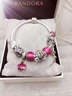 50% OFF!!! $239 Pandora Charm Bracelet Purple Heart Flowers Pumpkin Carriage. Hot Sale!!! SKU: CB01600 - PANDORA Bracelet Ideas