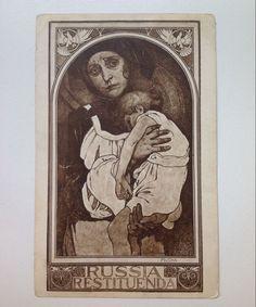 Original Vintage ALPHONSE MUCHA Postcard Russia Restituenda art-nouveau card