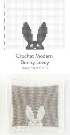 Handarbeit Free Pattern - Crochet Modern Bunny Lovey Tips to Remove Allergy Triggers in Your Home Wh Crochet Afghans, Crochet C2c, Crochet Bunny Pattern, Crochet Amigurumi, Crochet Cushions, Crochet Chart, Crochet Blanket Patterns, Baby Blanket Crochet, Amigurumi Patterns