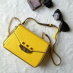 Yellow Leather Crossbody Bag Very Nice Yellow Crossbody or Shoulder Bag. Extra Cute! Comes with adjustable leather/chain strap! Isabelle Bags Crossbody Bags