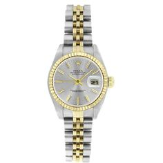 Pre-Owned Rolex Women's 6917 Datejust Two-tone Silver Stick Watch ($3,046) ❤ liked on Polyvore featuring jewelry, watches, 2 tone bracelet, 18k bracelet, pre owned watches, bracelet watches and dial watches