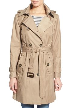 London Fog Hooded Double Breasted Trench Coat (Regular